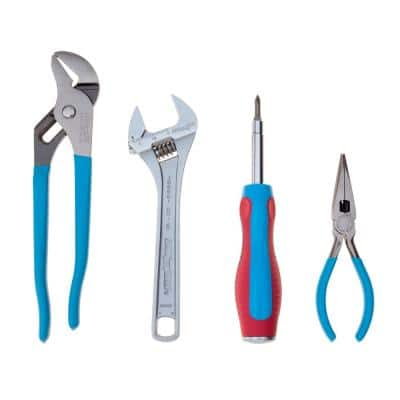 Adjustable Wrench 6 in 1 Tongue and Groove and Long Nose Plier Set (4-Piece)