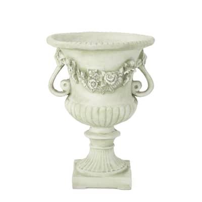 Buena Vista 24 in. White Moss Cast Stone Urn
