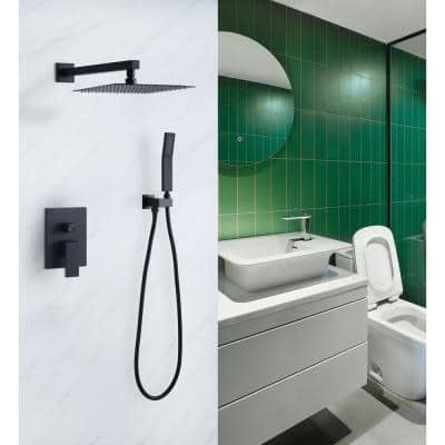 1-Spray Patterns with 2.5 GPM 10 in. Wall Mount Rain Dual Shower Heads in Matte Black, Shower System / Faucet Set