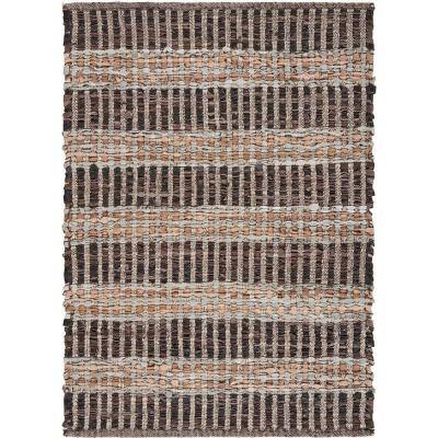 Country Home Brown 2 ft. x 3 ft. Striped Panel Leather Area Rug