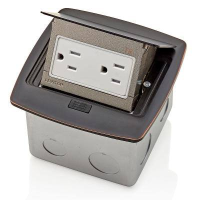 Pop-Up Floor Box with 15 Amp, Tamper-Resistant Outlet, Bronze