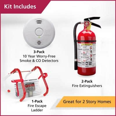 2-Story Home Fire Safety Kit, 3-Pack Hardwired Smoke/CO Detector & 2-Pack Pro Fire Extinguisher