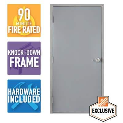 36 in. x 80 in.Right-Hand Galvanneal Steel Mill Primed Commercial Door Kit with 90 Minute Fire Rating, Knock Down Frame