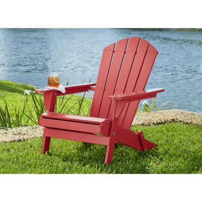 Chili Red Folding Outdoor Adirondack Chair (2-Pack)