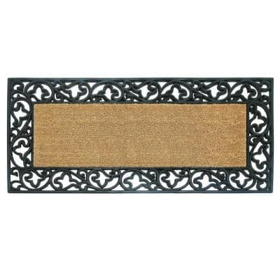 Wrought Iron with Coir Insert and Acanthus Border 24 in. x 57 in. Rubber Coir Door Mat