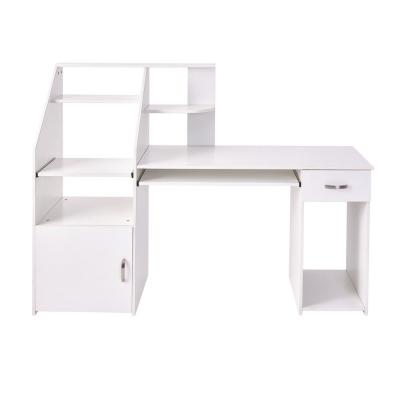 19.5 in. W 2-Drawers White Wood Multi-Functions Computer Desk with Cabinet