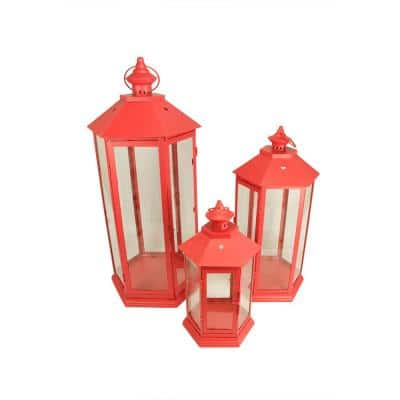 27 in. Red Traditional Style Pillar Candle Holder Lanterns (Set of 3)