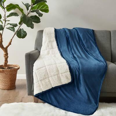 Velvet to Berber Navy 50 in. x 60 in. 10 lbs. Weighted Blanket