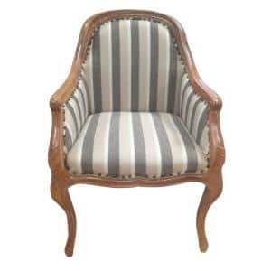Gray and Brown Striped Fabric Tufted Wooden Frame Side Sofa Arm Chair