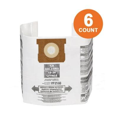 High-Eff. Size B Dust Collection Bags for 5-8 Gal. Shop-Vac Branded Vacs, 5-10 Gal. RIDGID Vacs, except HD0600 (6-Pack)