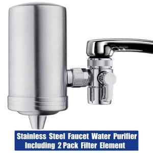 Stainless Steel Water Filtration System with Double Outlet and Large Water Flow Include Filter Element (2-Pack)
