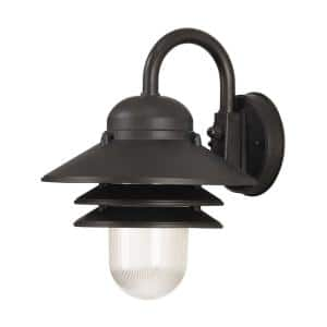 Nautical 1-Light Black 3000K ENERGY STAR LED Outdoor Wall Mount Sconce with Durable Clear Prismatic Acrylic Lens
