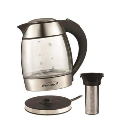 7-Cup Cordless Clear Electric Kettle with Removable Filter