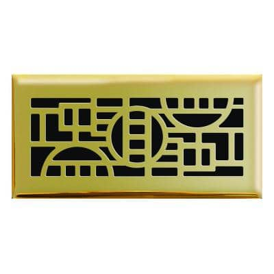 4 in. x 10 in. Cosmopolitan Floor Register in Polished Brass