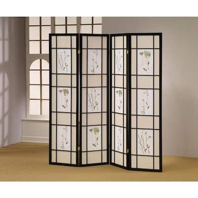 Herbal Floral 4-Panel Shoji Screen Room Divider