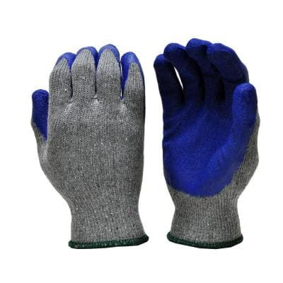 Rubber Coated Blue Large Gloves (12-Pair)