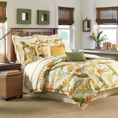 Birds of Paradise 3-Piece White Botanical Cotton King Comforter Set
