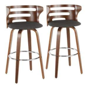 Cosini 29 in. Walnut and Charcoal Bar Stool in Fabric (Set of 2)