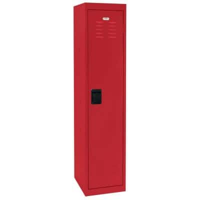 66 in. H x 15 in. W x 18 in. D Single-Tier Welded Steel Storage Locker in Red