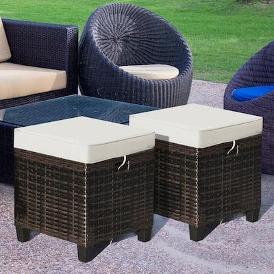 2-Piece Brown Wicker Outdoor Ottoman with Coffee Cushion Patio Rattan Foot Rest Garden Furniture