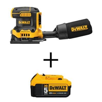 20-Volt MAX XR Cordless Brushless 1/4-Sheet Variable Speed Sander (Tool-Only) w/ 20-Volt MAX Li-Ion 5.0 Ah Battery Pack