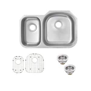 Undermount 16-Gauge Stainless Steel 32.31 in. 0-Hole 30/70 Double Bowl Kitchen Sink with Grid Set and Drain Assemblies