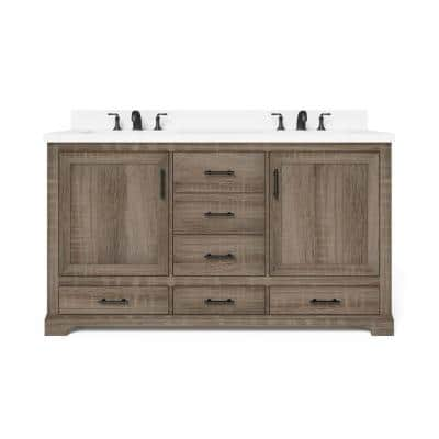 Kendall 60 in. W x 34.5 in. H Bath Vanity in Distressed Oak with Engineered Stone Vanity Top in White with White Basin