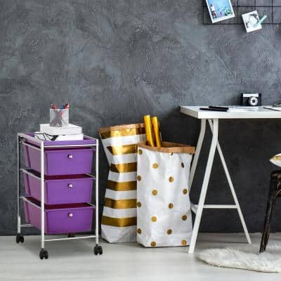 Wayar 3-Shelf Chrome 4-Wheeled 4-Drawer Storage Cart in Purple