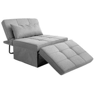 YZJ 74 in. Light Brown Linen 3-Seater Full Sleeper Convertible Sofa Bed with 4-in-1 Multi-Function