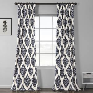 Ikat Blue Ikat Rod Pocket Room Darkening Curtain - 50 in. W x 96 in. L