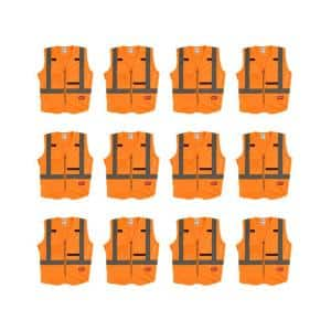 4X-Large/5X-Large Orange Class 2-High Visibility Safety Vest with 10-Pockets (12-Pack)