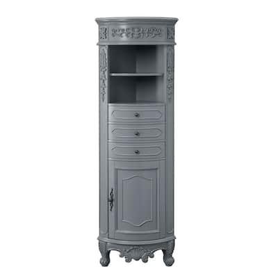 Winslow 22 in. W x 14 in. D x 67.5 in. H Single Door Linen Cabinet in Antique Gray