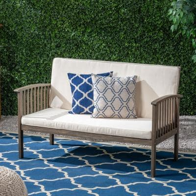 Casa Grey Wood Outdoor Loveseat with Cream Cushions