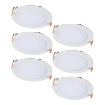 6 in. 2700K-5000K Tunable CCT Smart Integrated LED White Recessed Downlight, Round Trim (6-Pack)