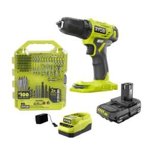 ONE+ 18V Cordless 3/8 in. Drill/Driver Kit with 1.5 Ah Battery, Charger, and Drill and Drive Kit (95-Piece)