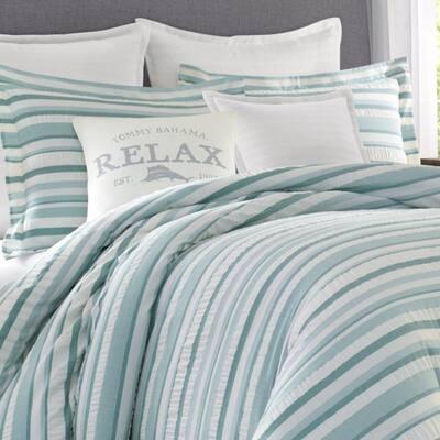 Clearwater Cay Blue Striped Seersucker Cotton Comforter Set