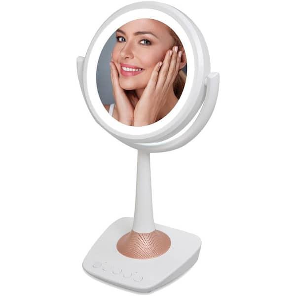 Qfx Lighted Makeup Mirror And Bluetooth, Makeup Mirror With Light And Bluetooth Speaker