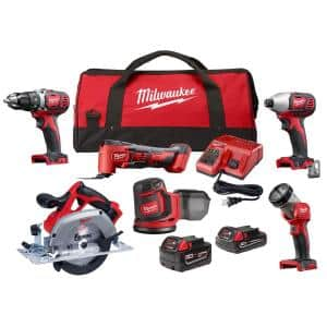 M18 18-Volt Lithium-Ion Cordless Combo Kit (6-Tool) with 2 M18 Batteries, 1 Charger, 1 Tool Bag