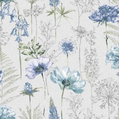 Floral Sketch Blue Unpasted Removable Peelable Paper Wallpaper