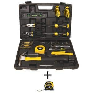 Home Tool Kit (65-Piece) with Bonus Keychain Pocket Tape Measure