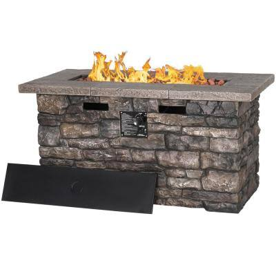 46.4 in. W x 22.5 in. D x 23.6 in. H Outdoor Rectangular Propane Fire Pit Table with Lid, Grey