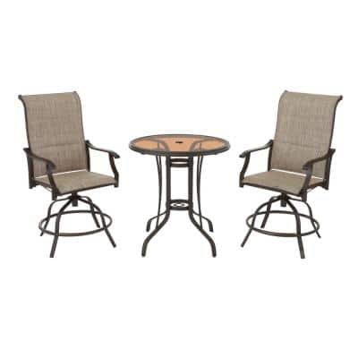Riverbrook Espresso Brown 3-Piece Outdoor Patio Steel Round Padded Sling Swivel Balcony Bistro Set