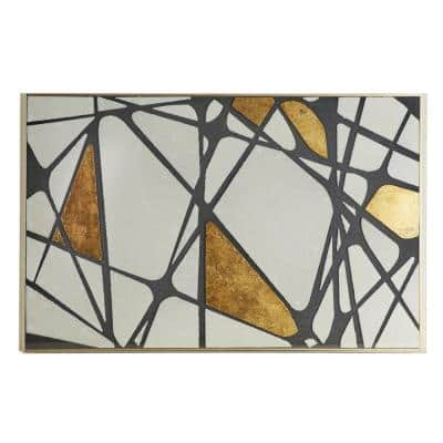 Large Rectangular Metallic Gold and White Abstract Wall Art 47 in.x 31.5 in.