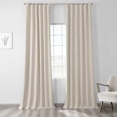 Natural Light Beige Cross Linen Weave Grommet Blackout Curtain - 50 in. W x 96 in. L