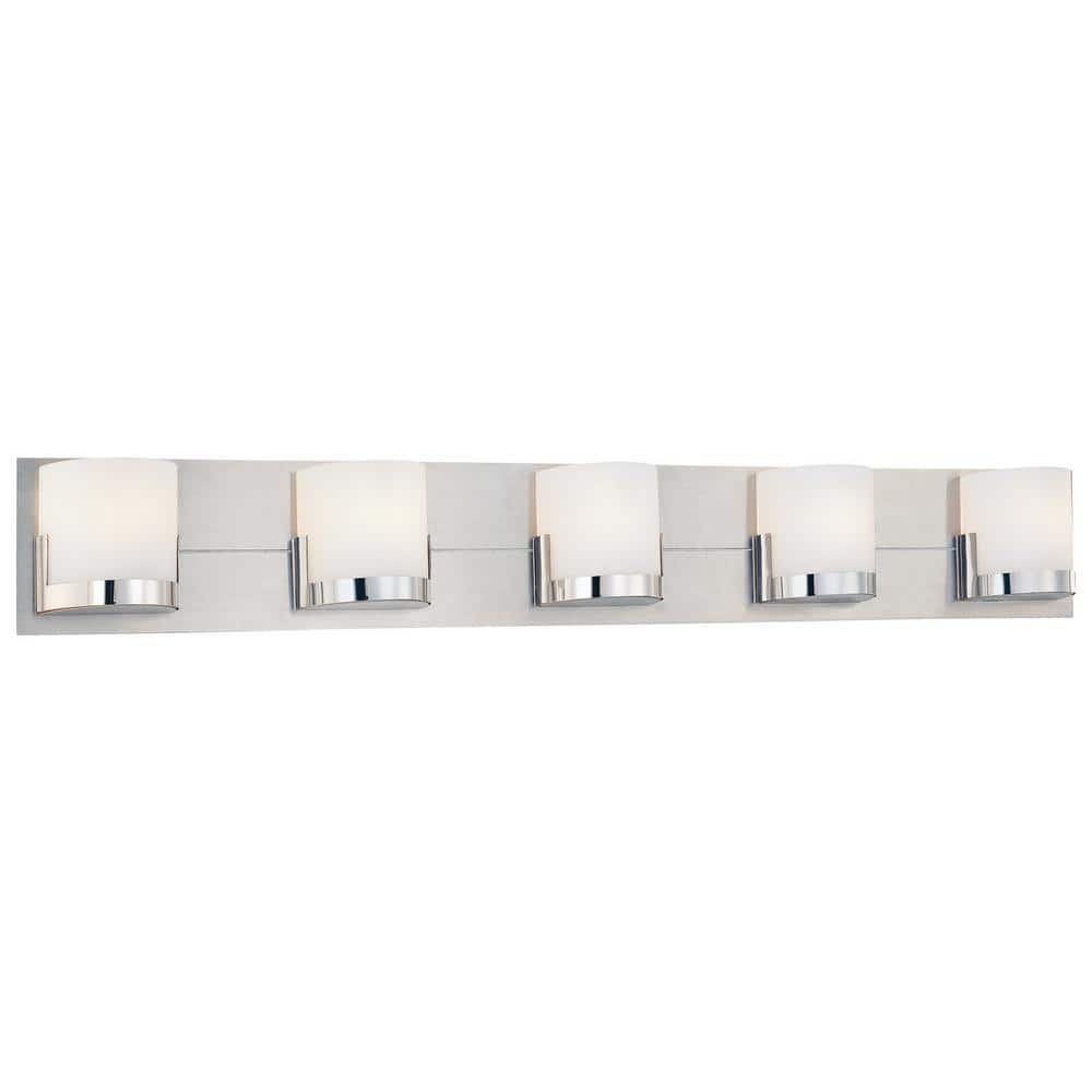 George Kovacs Convex 5 Light Chrome Glass Holders With Brushed Aluminum Back Plate Bath Light P5955 077 The Home Depot