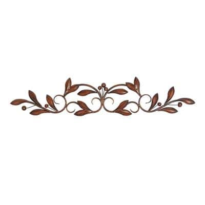 7 in. x 30 in. Brown Metal Traditional Floral Wall Decor