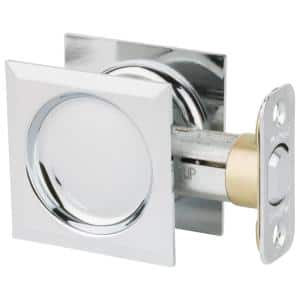 Onward 3 7 32 In Chrome Pocket Door Pull With Privacy Lock 1701cpsbc The Home Depot