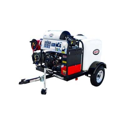 95006 4000 PSI at 4.0 GPM VANGUARD V-Twin Hot Water Professional Gas Pressure Washer Trailer