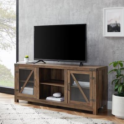 59 in. Rustic Oak Composite TV Stand 64 in. with Doors