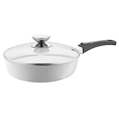 Vario Click Pearl 4 qt. Cast Aluminum Ceramic Nonstick Saute Pan in White with Glass Lid